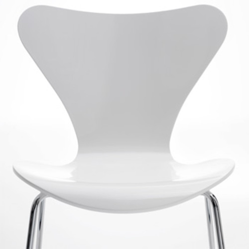 fritz hansen 3107 stuhl wei lackiert sitzh he 46 50 cm. Black Bedroom Furniture Sets. Home Design Ideas