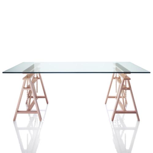 magis teatro tisch holzb cken glasplatte holzbock marc berthier. Black Bedroom Furniture Sets. Home Design Ideas