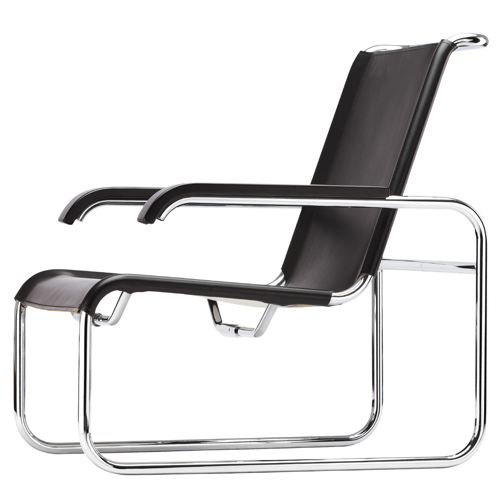marcel breuer s 35 h hocker thonet kernleder schwarz. Black Bedroom Furniture Sets. Home Design Ideas