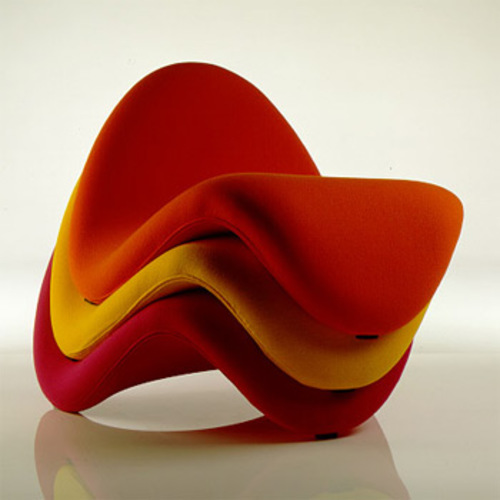 Pierre Paulin : Tonge F577 (1967)  :  whimsical colorful seating upholstered