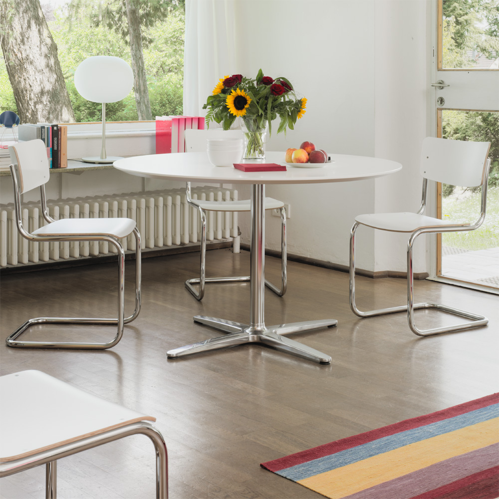 Esstisch Thonet ~ Esstisch Ausziehbar Massiv Holz Glas Design Rund Weiß Nussbaum Lackiert