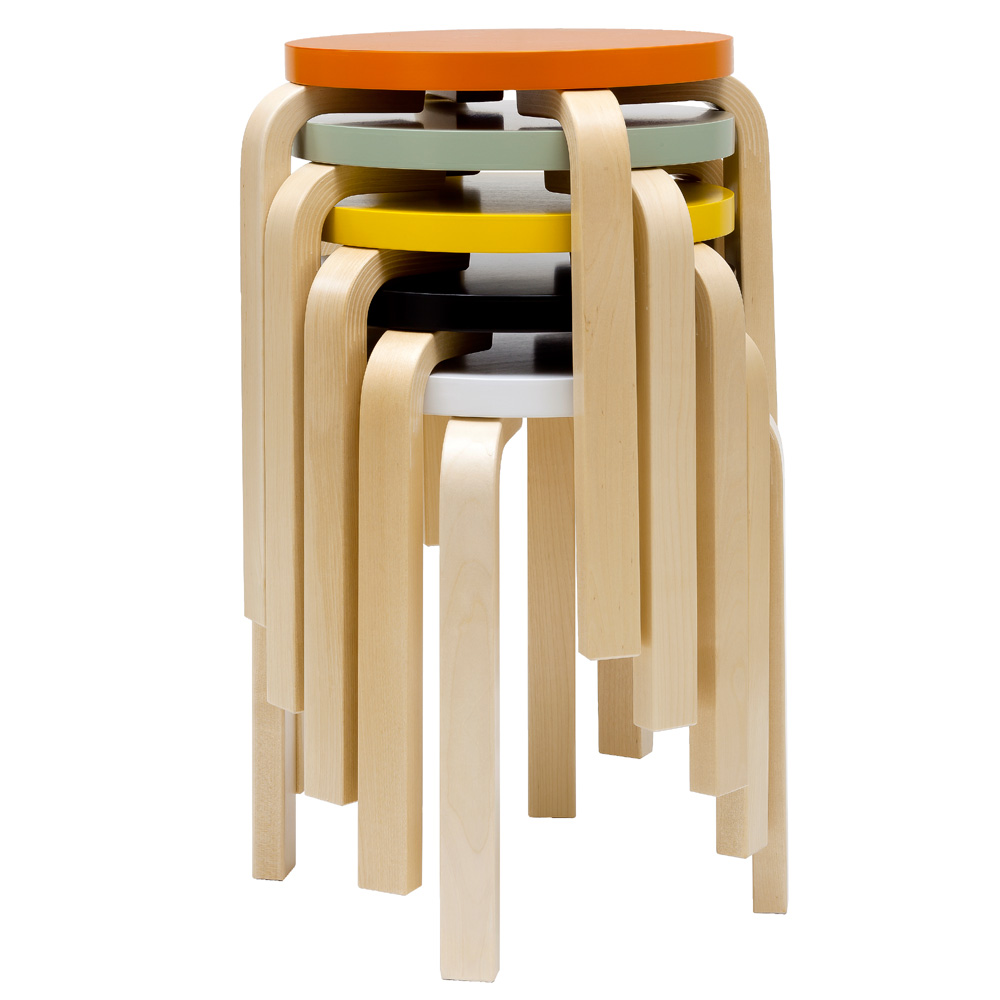 Artek hocker e60 stool 4 beine birke natur alvar aalto for Holzhocker stapelbar