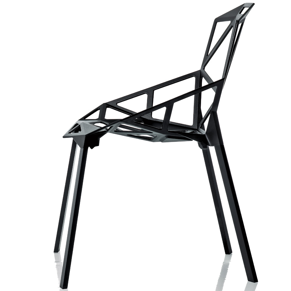 magis chair one stuhl schwarz eloxiert 4 beine konstantin grcic aluminium. Black Bedroom Furniture Sets. Home Design Ideas