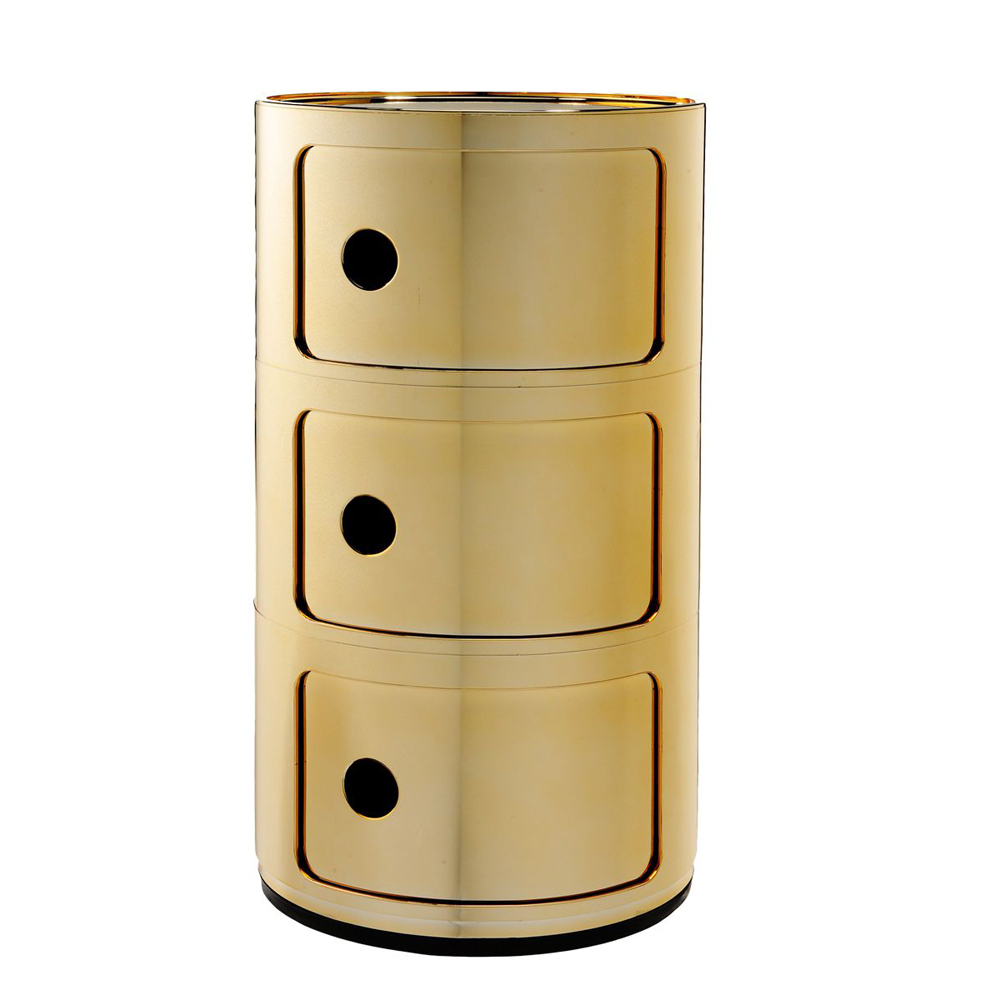 Kartell componibili 3er gold kommode schubladen container for Kommode gold