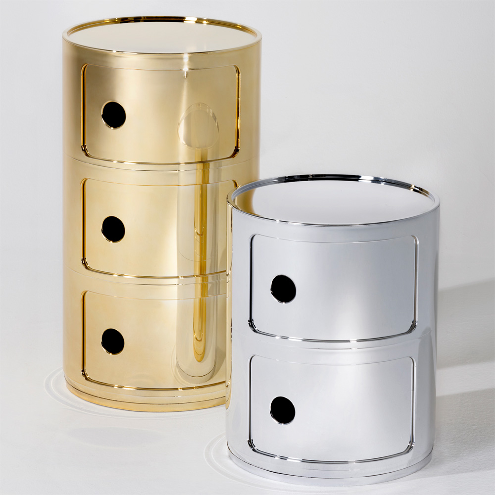 kartell componibili 3er gold kommode schubladen container metallisiert. Black Bedroom Furniture Sets. Home Design Ideas