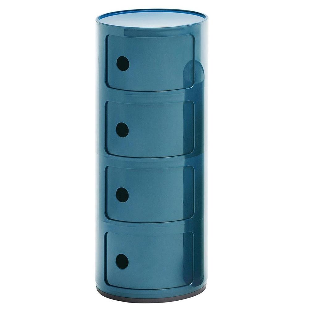 Kartell Componibili 4er Blau Kommode 498515 Vier Baukastenelement