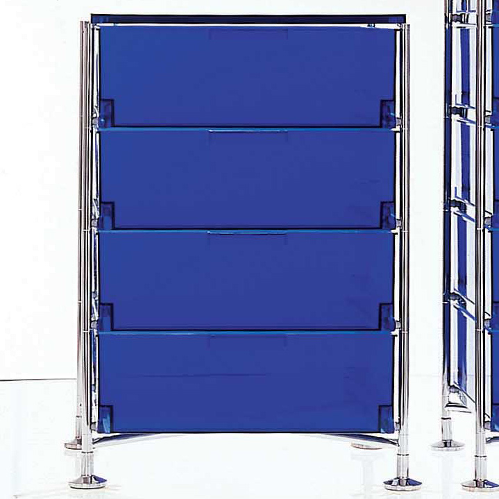 Kartell Mobil 4 Schubladen Kobaltblau Container Design Antonio Citterio
