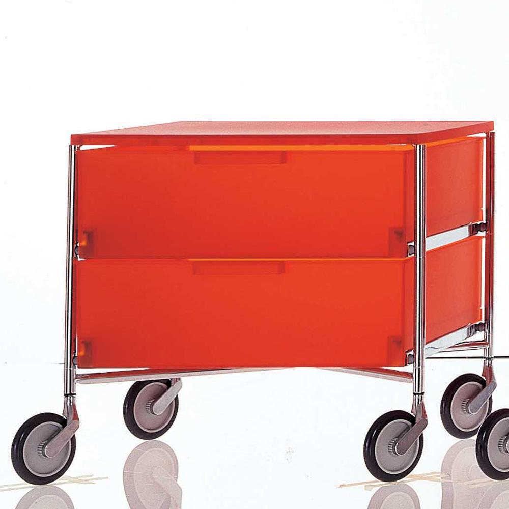 Kartell Mobil 2 Schubladen Dunkelorange Rollen Container Antonio