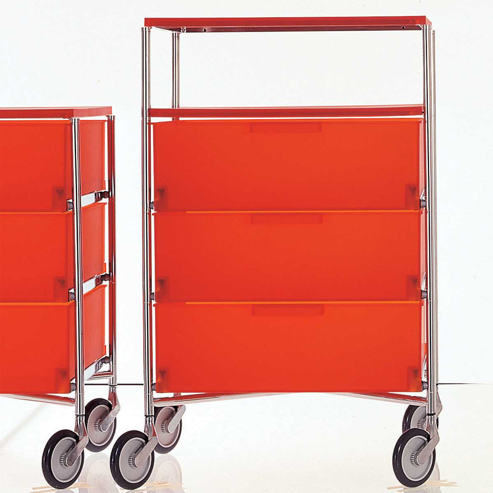 Rollcontainer design  Kartell Mobil Rollcontainer 3 Schubladen Ablage Dunkelorange Citterio