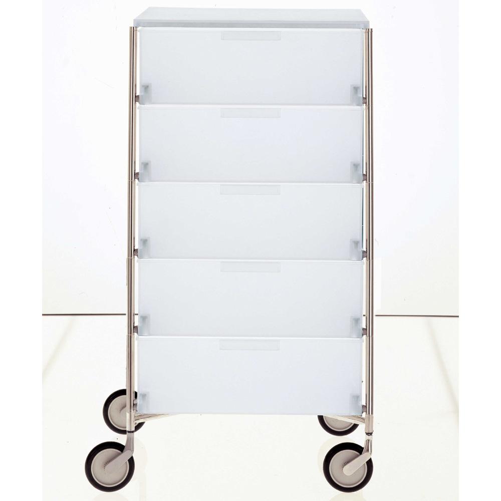 kartell mobil rollcontainer 5 schubladen eisfarben klar. Black Bedroom Furniture Sets. Home Design Ideas