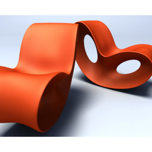 Magis voido stuhl orange schaukelstuhl ron arad outdoor for Schaukelstuhl orange