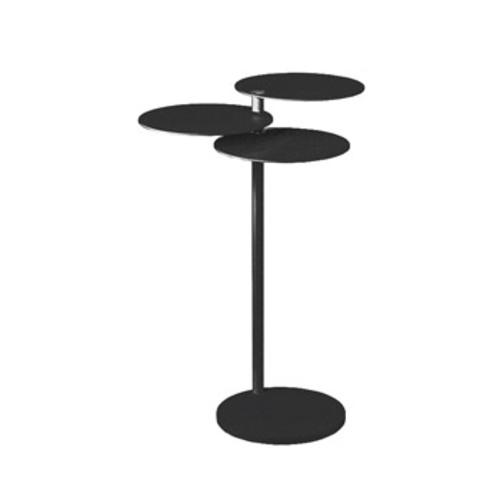 Beistelltisch glas holz design rollen rund massivholz for Kleiner schwarzer tisch