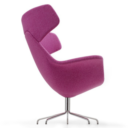 Oyster Lounge Sessel rabenschwarz Lederpolsterung