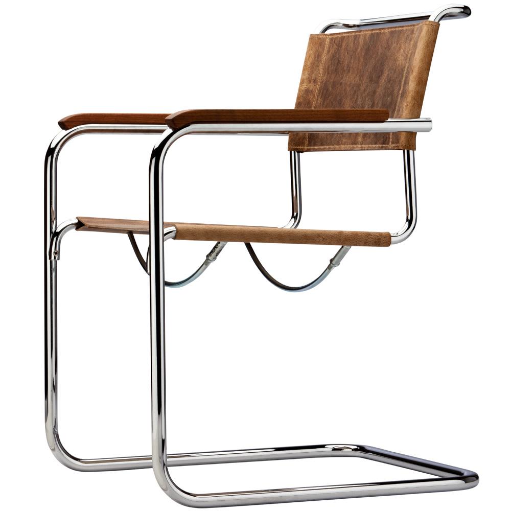 thonet s 34 pure materials kern b ffelleder braun nussbaum armlehnen. Black Bedroom Furniture Sets. Home Design Ideas