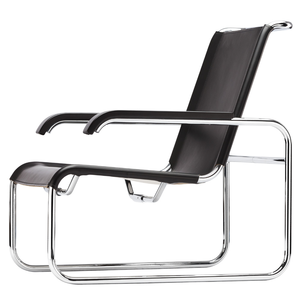 thonet s 35 l sessel marcel breuer leder schwarz armlehnen. Black Bedroom Furniture Sets. Home Design Ideas