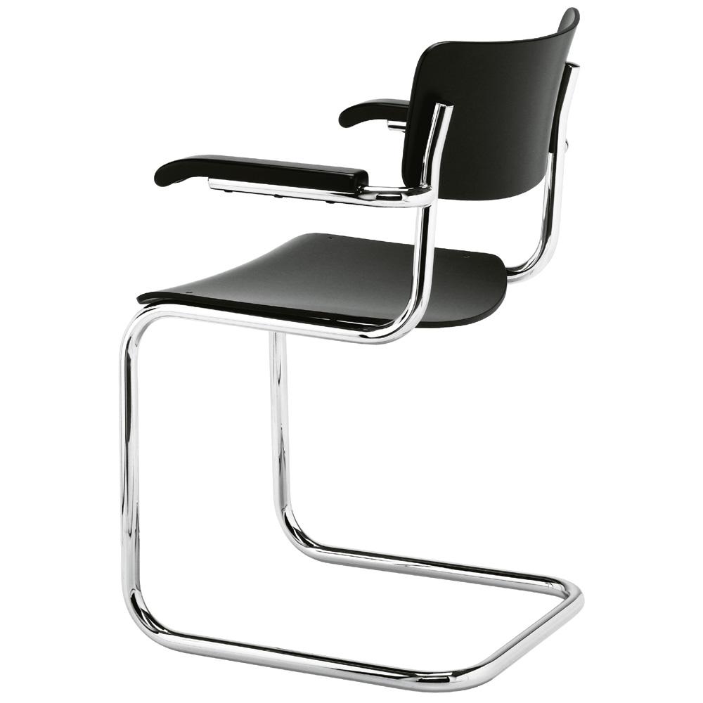thonet s 43 f armlehnen freischwinger schwarz gebeizt mart. Black Bedroom Furniture Sets. Home Design Ideas